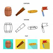 Vector Illustration Of Journey And Seafaring Icon. Set Of Journey And Vintage Stock Symbol For Web. poster