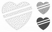 Mesh Sick Heart Model With Triangle Mosaic Icon. Wire Carcass Polygonal Mesh Of Sick Heart. Vector C poster