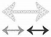 Mesh Swap Horizontally Model With Triangle Mosaic Icon. Wire Frame Triangular Mesh Of Swap Horizonta poster