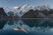 Beautiful Sunset Over Mountain Cho Oyu Reflecting In The Blue Moraine Lake Mirror Surface. Extra Pho poster