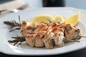 picture of souvlaki  - Chicken souvlaki on rosemary sticks with lemon - JPG
