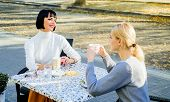 Female Friendship. Trustful Communication. Girls Friends Drink Coffee And Talk. Conversation Of Two  poster