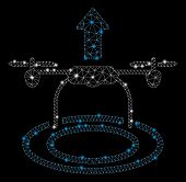 Glossy Mesh Start Drone With Glow Effect. Abstract Illuminated Model Of Start Drone Icon. Shiny Wire poster