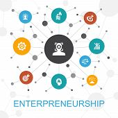 Entrepreneurship Trendy Web Concept With Icons. Contains Such Icons As Investor, Partnership, Leader poster