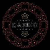 Glossy Mesh Royal Casino Chip With Glow Effect. Abstract Illuminated Model Of Royal Casino Chip Icon poster