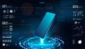 Technology Hologram With Smartphone Blank. Hud Interface On Mobile Telephone. 3d Isometric Mobile Ph poster