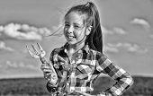 Kid Cheerful Gardener Hold Rake Blue Sky Background. Girl Gardener With Hand Rake. Gardening And Har poster