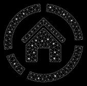 Glowing Mesh Realty Diagram With Sparkle Effect. Abstract Illuminated Model Of Realty Diagram Icon.  poster