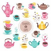 Hand Drawn Teapot And Cup Collection. Colorful Tea Cups, Coffee Cups And Teapots Isolated On White B poster