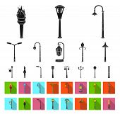 Lamp Post Black, Flat Icons In Set Collection For Design. Lantern And Lighting Bitmap Symbol Stock W poster