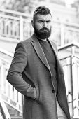 Urban Fashion. Man Bearded Hipster Stylish Fashionable Coat Or Jacket. Comfortable Outfit. Hipster F poster