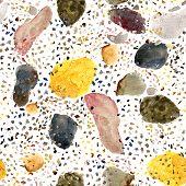 Seamless Texture Of Watercolor Terrazzo Flooring Pattern. Classic Italian Floor Design In Venetian S poster