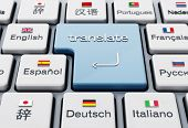 Translate Word On Enter Key In A Keyboard With Country Flags. 3d Illustration. poster