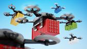 Unmanned Drone Carrying Cargo Container. 3d Illustration. poster