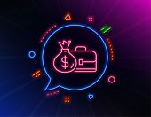 Business Case Line Icon. Neon Laser Lights. Portfolio And Salary Symbol. Diplomat With Money Bag Sig poster