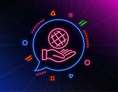 Safe Planet Line Icon. Neon Laser Lights. World Sign. Ecology Symbol. Glow Laser Speech Bubble. Neon poster