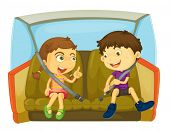 foto of seatbelt  - cartoon of kids in a car - JPG