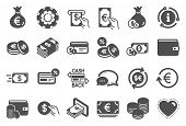 Money Wallet Icons. Set Of Credit Card, Cash And Coins Icons. Banking, Currency Exchange And Cashbac poster