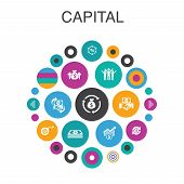 Capital Infographic Circle Concept. Smart Ui Elements Dividends, Money, Investment, Success poster