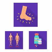 Isolated Object Of Symptom And Disease Logo. Set Of Symptom And Treatment Vector Icon For Stock. poster