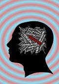 foto of ibuprofen  - Headache in word collage illustration - JPG