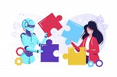 Business Concept. Team Metaphor. People Connecting Puzzle Elements. Vector Illustration Flat Design  poster
