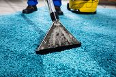 Close-up Of A Person Cleaning Carpet With Vacuum Cleaner poster