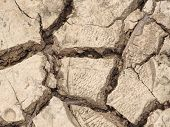 Cracked Mud Suitable As Background And Symbol Of Arid Climate And Climate Change poster