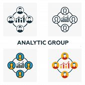 Analytic Group Icon Set. Four Elements In Diferent Styles From Business Management Icons Collection. poster