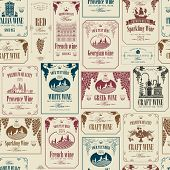 Vector Seamless Pattern On The Theme Of Wine With Various Wine Labels With Images Of Grapes, Landsca poster