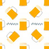Illustration On Theme Big Colored Pattern Oktoberfest, German Holiday It Fest Beer. Pattern Consisti poster