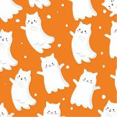Vector Graphis. Cute Holidays Characters. Halloween Cute Icon Flying Ghost Logo. Halloween Cartoon P poster