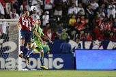 CARSON, CA. - AUG 14: Seattle Sounders D (31) JEFF PARKE (R) and Chivas USA F (16) ALAN GORDON durin