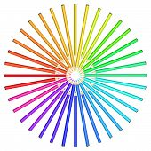 picture of diffraction  - Coloured pencils arranged in a circle - JPG