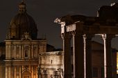 Forum Romanum at night.