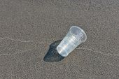 Plastic Garbage On The Beach. Environmental Pollution Problem. Trash On Sand Beach. Plastic Cup Garb poster