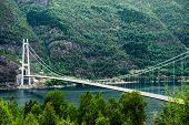 Hardanger Bridge Over Fjord Eidfjorden In Norway, Scandinavia, Hordaland County poster