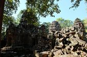Ancient Khmer Temple In The Forest. Dilapidated Monument Of Architecture. Tourist Attraction. poster