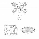 Vector Design Of Hardwood And Material Symbol. Set Of Hardwood And Wood Stock Symbol For Web. poster