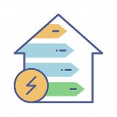Home Energy Efficiency Line Color Icon. Smart Eco House Improvement Sign. Alternative Energy Vector  poster