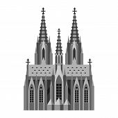 Roman Catholic Cathedral In Cologne. German Landmark Illustration. poster