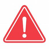 Hazard Warning Symbol Vector Icon Flat Sign Symbol With Exclamation Mark Isolated On White Backgroun poster