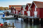 Wooden fishing huts Sweden, Scandinavia south Sweden poster