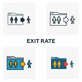 Exit Rate Icon Set. Four Elements In Diferent Styles From Content Icons Collection. Creative Exit Ra poster