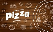 Pizza Food Menu For Restaurant And Cafe. Design In Doodle Lineart Style Template Flyer Baner With In poster