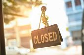 Closed Sign Hanging Front Of Cafe With Colorful Bokeh Light Background. Business Service poster