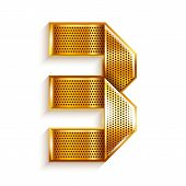 picture of arabic numerals  - Arabic numeral folded from a metallic perforated golden ribbon   - JPG