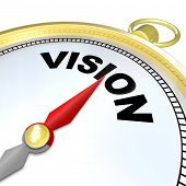 The needle on a golden compass points to the word Vision to give you clear direction, strategy, lead