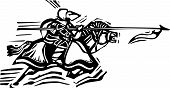 picture of jousting  - Woodcut expressionist style image of a jousting knight - JPG