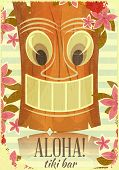 stock photo of tiki  - Vintage Hawaiian Aloha postcard  - JPG
